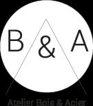 Lettres B et A et eperluette dans un rond blanc; soulignés par le texte Atelier Bois et Acier